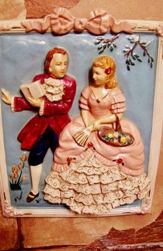 1950's Vintage Chalkware, Chalk Ware Wall Hanging Placque, 1700's Lady and Gentleman, Real Lace, Shabby Chic