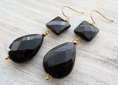 Black onyx earrings drop earrings dangle earrings by Sofiasbijoux