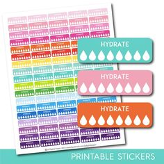 Hydrate stickers, Hydrate tracker stickers, Hydrate planner stickers, Hydrate printable stickers, Fitness stickers, Water stickers, STI-300