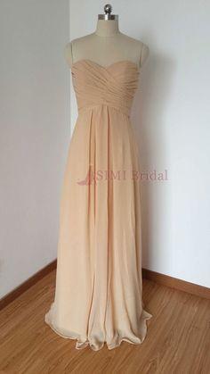 2015 Lace-up Sweetheart Champagne Chiffon Long Bridesmaid Dress