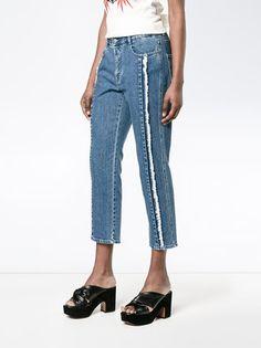 Stella McCartney укороченные джинсы с бахромой