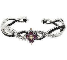 Barbara Bixby Sterling & 18K Garnet & Black Sapphire Flower Cuff Bracelet