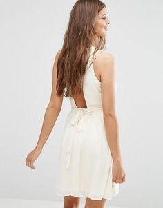Image 2 of Lavand Pleated Skirt Skater Dress In White