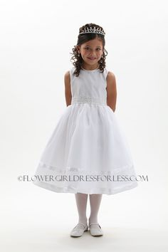 1059W - Flower Girl Dress Style 1059-White Satin and Organza Dress with Lace and Beaded Waist - First Communion Dresses - Flower Girl Dress For Less