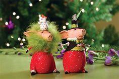 Pierre & Phyllis Pig Ornaments