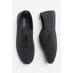 All black laced canvas sneakers