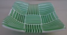 Lovely fused glass strip bowl made at AMusinGlass studio - with mint green, white & clear glass strips.
