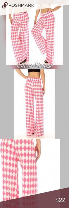 Watercolor pink diamond palazzo pants. Silky soft pink diamond watercolor pants. Watercolor means that it is slightly blurred around pattern, like water painting. Wide elastic waistband. Perfect pack and travel pants. Keep shape and won't wrinkle. Semi sheer. Boutique Pants Wide Leg