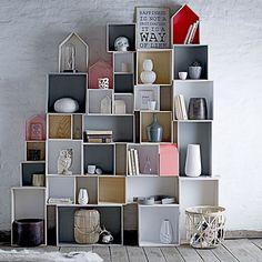 Storage Display Wooden Box System - 6 Pieces