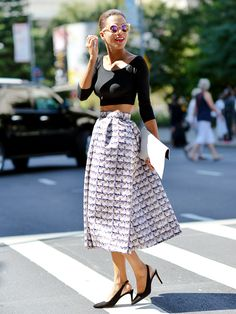 Tip of the Day: Balance Out a Bold Midi Skirt via @WhoWhatWearUK