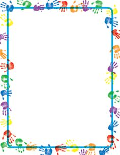 Handprints border paper by geographics. We offer large quantity discount. 25 count bond x 11 paper with handprints border. Borders For Paper, Borders And Frames, Printable Border, School Border, Boarder Designs, School Frame, Kids Background, Page Borders, Binder Covers