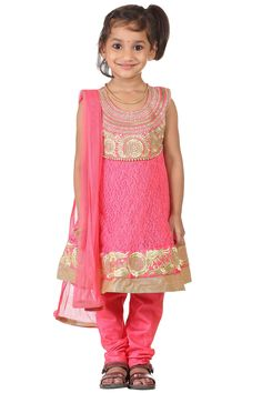 Buy Ashwini Girls Netted Embroidery Pink Salwar for Girls from age 2-8 years at http://Singlekart.com/ Currently available for Customers in Bangalore. #singlekart RHClothing