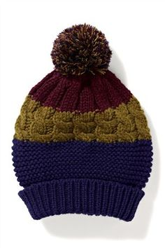 Mixed Texture Stripe Bobble Hat