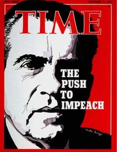 "The Time's article on the ""The Push to Impeach"" President Nixon in 1973. Following the Watergate Scandal (where people broke into the Democratic National Committee and the members of Nixon's administration attempted to cover up the scandal) Nixon was widely criticized and only lost support as his presidency went on. He eventually resigned to avoid impeachment."
