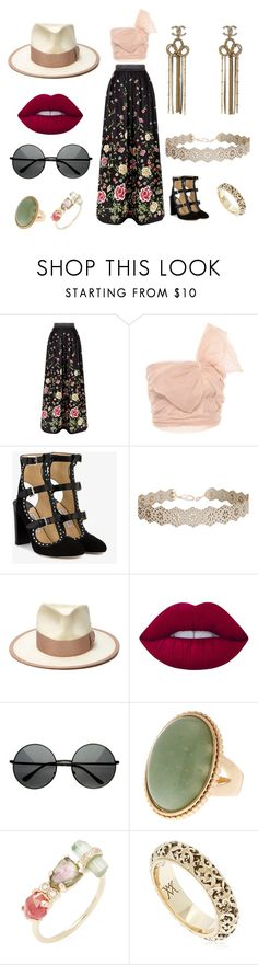 """Untitled #237"" by mveve on Polyvore featuring Alice + Olivia, RED Valentino, Jimmy Choo, Chanel, Humble Chic, Nick Fouquet, Lime Crime, Jacquie Aiche and Vanzi"