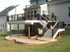 A patio under the deck...genius. Deck With Stairs, Deck With Pergola, Pvc Decking, Patio Under Decks, Decks And Porches, Back Deck, New Deck, Walkways, Second Story Deck