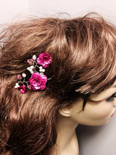 Wedding Prom Pink Fuschia Polymer Clay Crystals Pearls Hair Vine on Etsy, $43.00