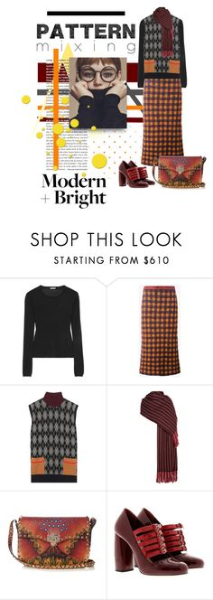 """""""Pattern Mix - Head To Toe"""" by georgiagreer ❤ liked on Polyvore featuring Miu Miu, Isabel Marant, Valentino, polyvoreeditorial and patternmixing"""