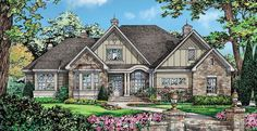 Home Plan HOMEPW76093 - 2453 Square Foot, 4 Bedroom 3 Bathroom European Home with 2 Garage Bays | Homeplans.com