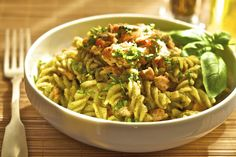 Salmon pasta with anti-inflammatory superstar holy basil pesto. You can use sweet basil too!