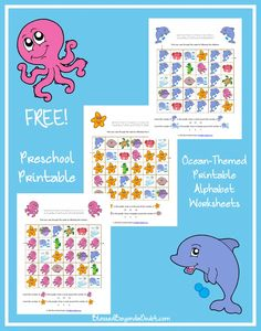 Your preschooler can have fun with these FREE Ocean-Themed Printable Alphabet Worksheets. The printable pack practices letters D, L, O, P, S, T, and W with ten traceable copywork and colorful mazes. It even has some counting and shape practice added in for extra fun! - WriteBonnieRose.com