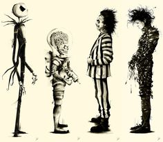Tribute to Tim Burton: Set of 4 Large Series by Marie Bergeron $700.00