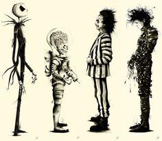 Tribute to Tim Burton: Set of 4 Large Series by Marie Bergeron $700.00