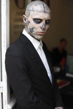 Nose Piercings on model Rick Genest (Zombie Boy)