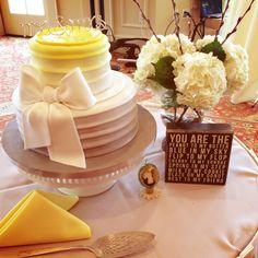 Yellow & Grey wedding Cake The Club at Strawberry Creek Kenosha, WI