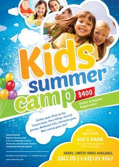 50+ Best Kids Summer Camp Flyer Print Templates 2019 ...