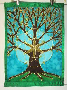 Tree of Life silk wallhanging silk art tree by HeavenOnEarthSilks, $90.00