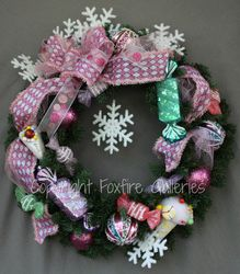 Girly girl candy wreath, perfect for a little girl's room!