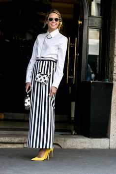 Perfect. Black/white mix of patterns plus touch of pastel color.Must-See Street Style From Milan Fashion Week Fall 2015 | StyleCaster