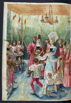 "Award ceremony from René of Anjou's ""Traite de la forme et devis d'un tournoi"" by Barthélemy d'Eyck, ca. 1465-1470 (PD-art/old), Biblioteka Czartoryskich"