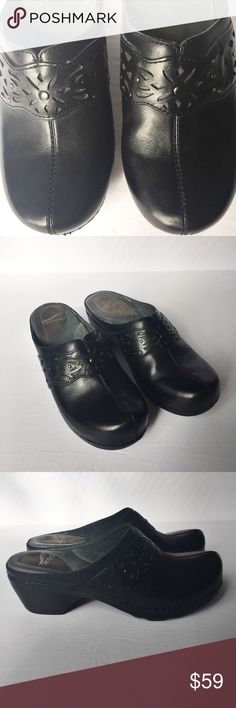 Dansko Leather Cutout Swedish Clogs EUC Excellent Used Condition Black Leather Cutout Swedish Clogs. Slip on and tread safe. Beautiful laser cut accent. Detailed stitching. The soles are in mint condition. Great for medical professionals! These are a European size 38/ US size 7.5-8 👗👛👠👙👕Bundle & Save! Dansko Shoes Mules & Clogs