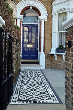 Front Garden Design Company London Wandsworth Fulham Chelsea Contact anewgarden for more information. Victorian Front Garden, Victorian Front Doors, Victorian Terrace, Victorian Hallway, Victorian House, House Entrance, Entrance Doors, Doorway, Victorian Mosaic Tile