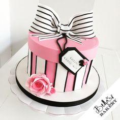 Pink, white and black gift box cake
