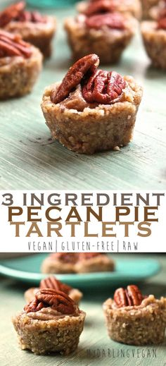 These raw pecan pie tartlets can be made with just 3 simple ingredients and whipped up within minutes. Vegan, gluten-free, and sweetened only with dates! Click the photo for the full recipe.