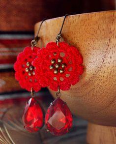 Ruby Red Earrings by Un Jardín De Hilo, via Flickr