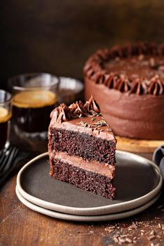 The Best Chocolate Cake recipe combines cocoa and coffee to create a chocolate lover's dream. Add your favorite buttercream frosting to make it perfect! Chocolate Cake With Coffee, Amazing Chocolate Cake Recipe, Best Chocolate Cake, Chocolate Frosting, Chocolate Recipes, Chocolate Dreams, Fun Baking Recipes, Cake Recipes, Brownie Cake