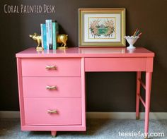 Craigslist desk makeover with Benjamin Moore Advance Paint in Coral Gables + Krylon Short Cuts spray paint in gold leaf for hardware and leg tips