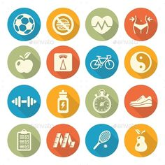Health and Fitness Icons — Vector EPS #girl #weight • Available here → https://graphicriver.net/item/health-and-fitness-icons/10257895?ref=pxcr