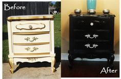 refinished thrift store furniture. website describes how to repaint laminate. paint furniture, craft, painting furniture, furniture redo, refinished furniture, bedroom sets, bedroom furniture, diy project, refinish furnitur