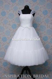 1592 short knee tea length wedding dress pleated bodice Pollyanna