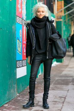 great look - boots, skinny trousers, a sweater shawl & jacket.