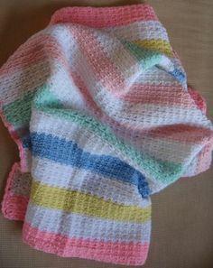 Easy Crocheted Striped Baby Blanket By Mary Grace McNamara - Free Crochet Pattern - (hookedonneedles)