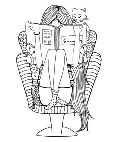 Vector illustration zentangl girl sitting in a chair reading a book. Coloring book anti stress for adults. Brown and white. Monster Coloring Pages, Cute Coloring Pages, Adult Coloring Pages, Coloring Books, Mandala Art, Mandala Drawing, Chair Drawing, Book Drawing, Doodle Drawings