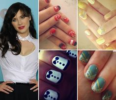 YouCeleb.com | Playful Nails  Zooey Deschanel has rocked all the fun nail styles!