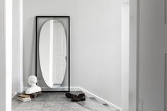 Floating mirror in a frame. Classic scandinavian minimalism designed by Aleksej Iskos. Danish design with a Nordic feel. Danish design perfect for hotel decoration Nordic Living Room, Scandinavian Living, Living Spaces, Scandinavian Design, Danish Furniture, Furniture Design, Modern Philosophy, Floating In Space, Behind The Glass