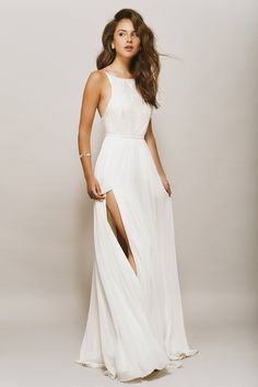 Open Back wedding  Dress, Halter Gown, Shiny Lace Top, Backless, Beach Wedding Dress, Geometric Lace, Chiffon Skirt, KALAKALA Bride, Ivory